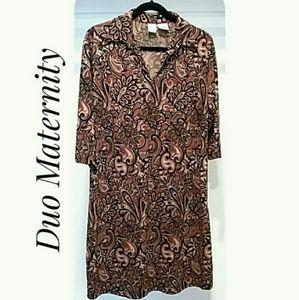 Paisley Maternity Dress Brown Black Size Medium